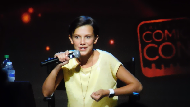 Millie Bobby Brown SLCC16 Panel still 2 Millie talking about her brother and family.